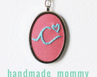 Handwriting Jewelry. Initial Necklace. Personalized Gifts for Her. Initial jewelry. Embroidered initial. Mommy necklace. Custom Necklace.