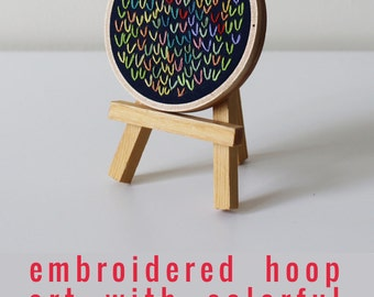 Colorful Stitching Embroidery Hoop Art. Embroidered Hoop. Small Abstract Art. One of a Kind Small artworks. Wishbone Stitch Hoop.