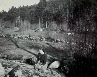 Vintage Black & White Photograph - Woman Sat in the Countryside