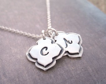 Double Mehndi Monogram Necklace, Personalized Initial Necklace, Fine Silver, Sterling Silver Chain, Made To Order
