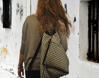Houndstooth Handmade backpack with leather details .Named Kalliope MADE TO ORDER