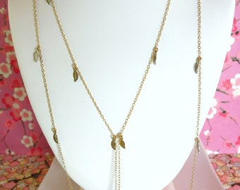 Citrine gold leaf long opera length double stranded necklace, Coachella leaf citrine gold stacking necklace, art festival