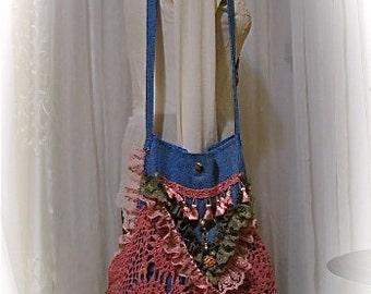 Hippie Bag handmade boho bag, gypsy bohemian bag, blue denim bag ,rose pink lace bag, laces doily embellished