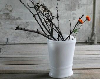 Vintage Milk Glass Vase / Utensil Holder