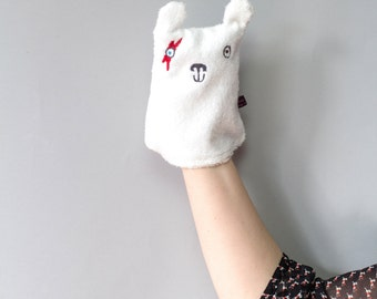 David Bowie inspired Face wipe/washcloth/puppet for baby/children - Polar Bear happy face