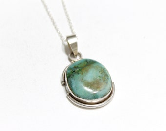 African Turquoise Oval Pendant in Sterling Silver 925