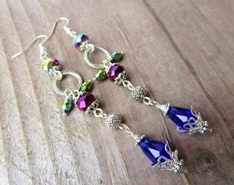 Blue Purple & Green Dangly Crystal and Silver Ring Long Beaded Silver Earrings