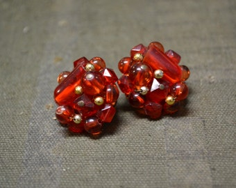 1960s Red Bead Cluster Clip Earrings