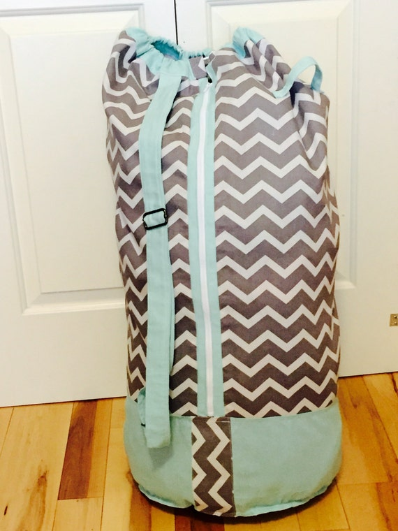 Monogrammed Laundry Duffel Bag Teal Grey And By Selahboutique