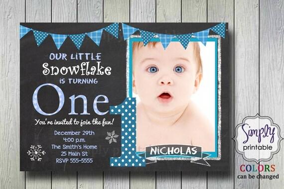 Birthday Invitation, Snowflake Invite, Our Little Snowflake, Printable Digital File