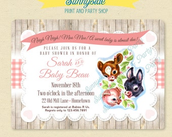 Baby Farm Animals Baby Shower Invitation - Farm Vintage Baby Invite - Printable Shower Invitation - Pink