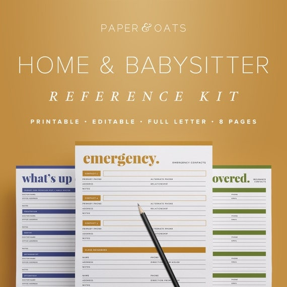 Home Babysitter Reference Kit Editable Emergency By