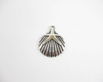 6 Shell with Starfish Charms in Silver Tone - C2130