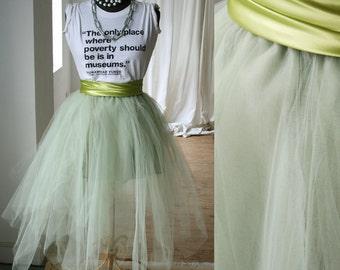 Party Dance Fairy Ballerina Irregular Translucent TuTu Mesh Tulle Calf length Skirt Celadon Green