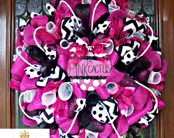 Hot Pink and Black Whimsical Wreath