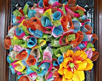 Colorful Lavish Wreath with Flower