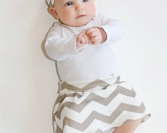 Chevron Baby Skirt - Baby Girl Knit Skirt 0 3 6 12 18 24 months - Gray and White Maxi Skirt You Choose Colors Organic Cotton Eco Friendly