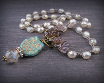 Owl Necklace, turqouse and pearl white shades with brass and amber accents, front closure necklace, Bohemian Gypsy