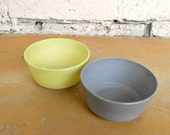 Hazel Atlas Bowls, Pair Grey and Chartreuse Ovide Platonite 1950s Bowls