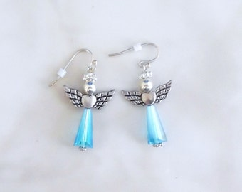 Blue Angel of Hope Earrings, Swarovski Crystal Light Sapphire Earrings, Beaded Earrings,Aqua Angel Earrings,Awareness Earrings,Prom Earrings