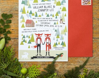 Animal Fox Woodland Wedding Printable Invitation
