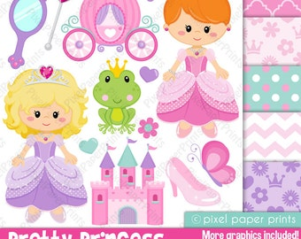 Pincess clipart - PRETTY PRINCESS - Clip art and Digital paper set