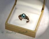 Blue Zircon Ring, Crystal Ring, Dragon Egg Ring, Victorian Ring, Blue Zircon Teal Brass Czech Glass birthstone Ring, Custom Sized