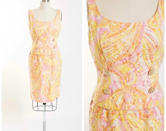 60s Vintage Dress Pink Yellow Swirl Jacquard 1960s Dress Set with Iridescent Rhinestone Buttons Size Small