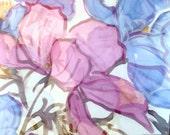 Hand Painted Silk Shawl Wrap, ETSY ASAP, Spring Pink and Blue Primavera Floral Scarf, Silk Chiffon Scarf, Silk Scarves Takuyo, 22x90 inches.