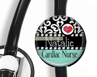 Personalized Stethoscope Identification Tag, Personalized Cardiac Nurse,  Nurse or Doctor, Badge Reel,Carabiner,Lanyard,Steth ID Tag