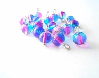 Dual Colored Pink & Blue Transparent Druk Dangle Beads