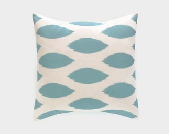 CLEARANCE 50% OFF Village Blue Ikat Decorative Pillow Covers. 20X20 Inches. Dusty Blue Ikat Throw Pillow Cover. Vintage Blue and Cream