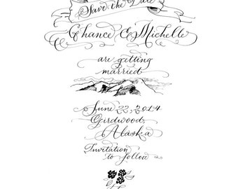 Custom Hand Calligraphy Save the Date with illustration |  M i c h e l l e