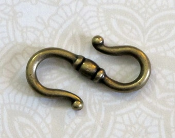 Antiqued Brass S Hook Clasp 22mm