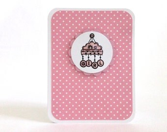 It's a Girl Card - Baby Girl Card - New Baby Card - Pink Polka Dot Baby Card - Baby Shower Card - Welcome Baby - Congratulations Baby Card