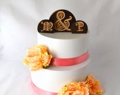 Filigree Wedding Cake Topper Set- burned wood personalized with your custom letters