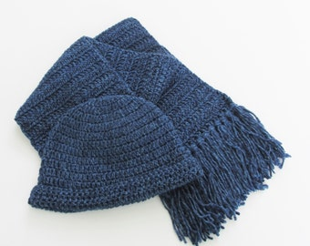 Crochet Blue Winter Hat and Scarf Set