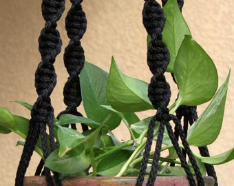 HELIX - Handmade Macrame Plant Hanger Plant Holder with Wood Beads - 6mm Braided Poly Cord in BLACK