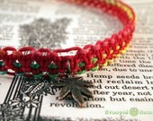 Red Rasta Marijuana Leaf Hemp Necklace - 420 Cannabis Hemp Necklace