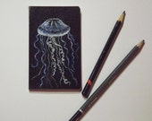 Small Jellyfish notebook - pocket sized notepad with a Sea Jelly painted on the cover