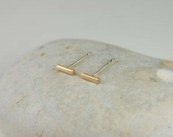 Gold Bar Earrings Minimal Gold Earrings Gold Line Earrings Modern Earrings 14K Gold Earrings Minimal Studs