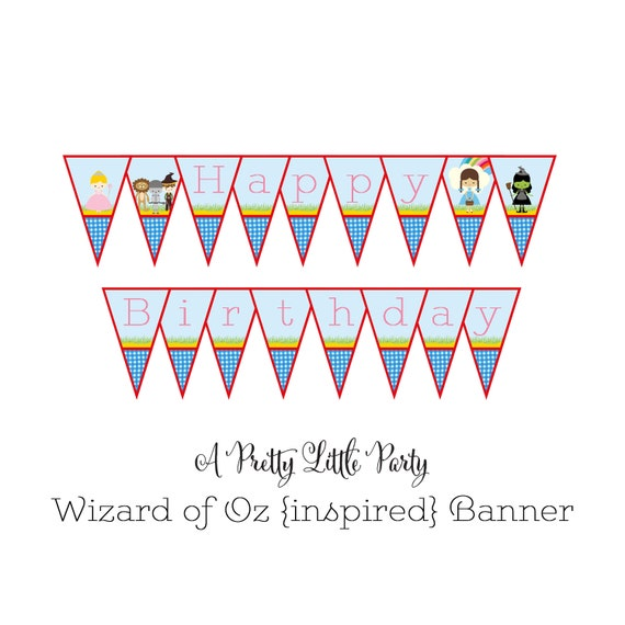 Oz {inspired} Birthday Banner  - Wizard of Oz Party - Digital files - Party Supplies - INSTANT DOWNLOAD