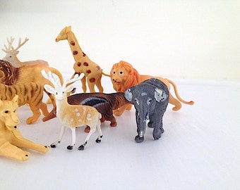 1950's Plastic Miniature Jungle Animals - Made In Hong Kong, Mid Century, 1950's Home Decor, Personalized Gift For KID, Miniature Elephant