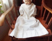 Extra Long Child's Handmade Nightgown, White Cotton Tatted Gown from the 40's