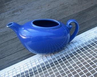 Vintage California Pottery Dark Blue Aladdin Style Teapot~Dusky Cobalt Swirl Pattern 1950s Teapot/Boho Bud Vase