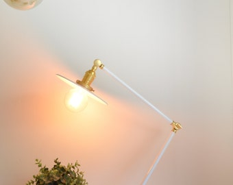 Otto • vintage style articulating boom lamp made with white & solid brass