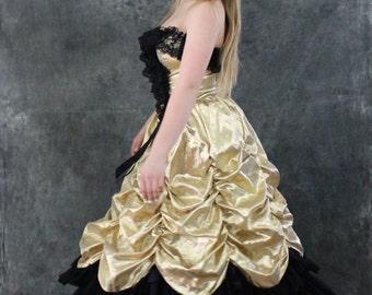 Loralie Black Lace Gold Metallic Princess Gown Ballroom Masquerade Victorian Steampunk Goth Black X Small Tiered Punk Rocker Dress SMALL
