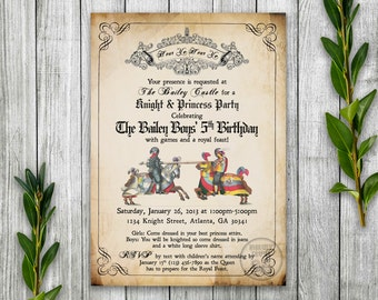 Knight Birthday Party Invitation Printable, Medieval Times Invite, Renaissance Birthday Party Theme, Jousting Knights, Princess and Knight