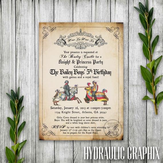 Knight Birthday Party Invitation Printable Medieval Times – Knight Birthday Party Invitations
