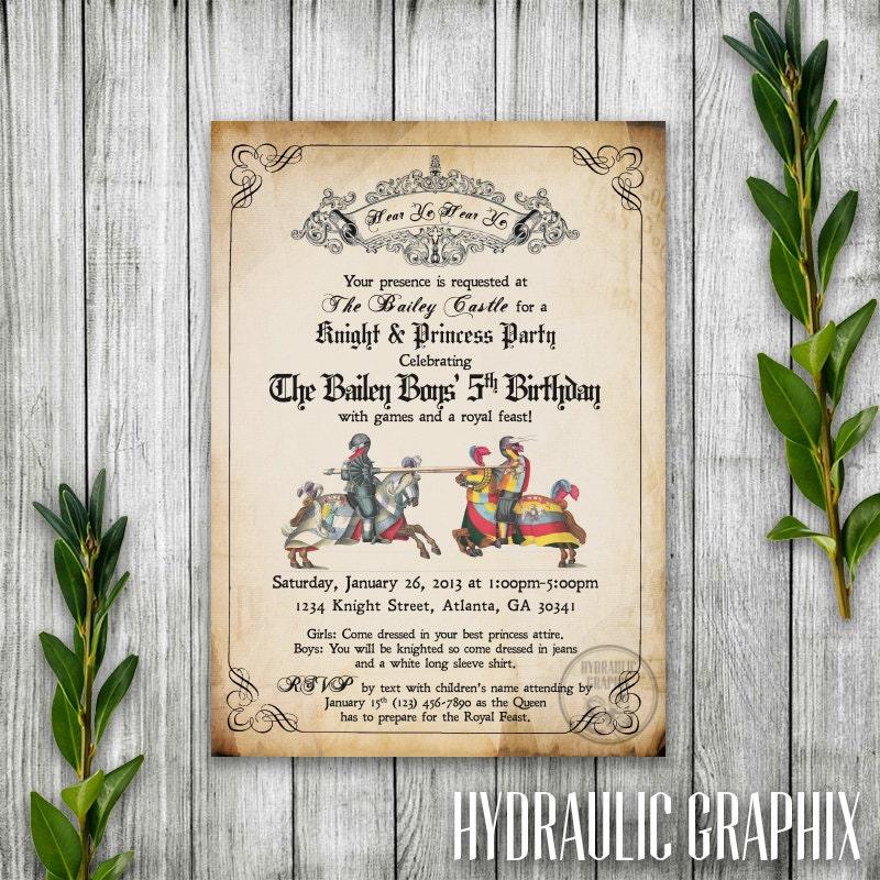 Knight Birthday Party Invitation Printable Medieval Times – Knight Birthday Invitations